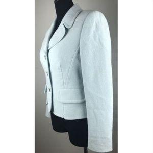 Escada Wool Blazer Jacket Pearl Buttons Teal Sz 40